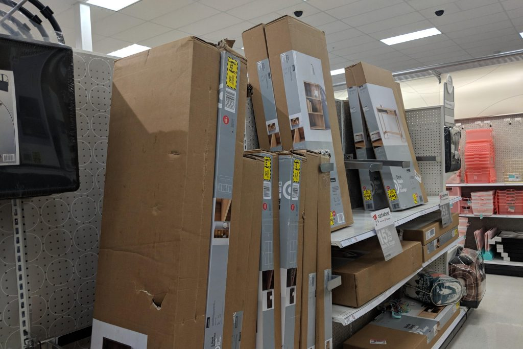 These boxes are too high and could become falling merchandise