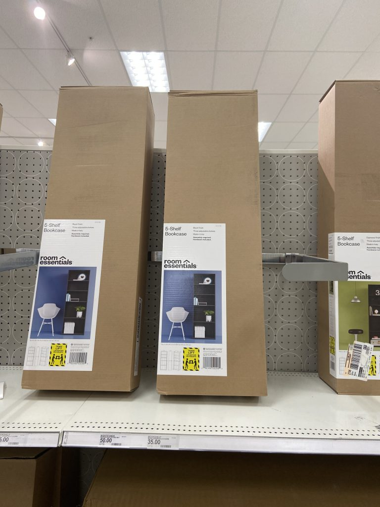 These boxes violate Target's procedures designed prevent falling merchandise